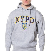 Adult NYPD Grey Pullover Hoodie With Navy/Yellow Chest Patch