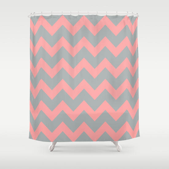 Chevron Grey Coral Pink Shower Curtain By From Society6