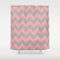 Chevron Grey Coral Pink Shower Curtain by Beautiful Homes