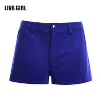 Liva Girl 2016 Summer Beach Wear Shorts For Womens Candy Color plus size shorts Fashion Design Lady Casual Fashion Shorts Blue