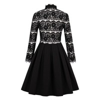 Black Vintage Vampire Goth Lace Retro 50's Cocktail Party Dress