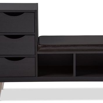 Baxton Studio Arielle Modern and Contemporary Dark Brown Wood 3-drawer Shoe Storage Padded Leatherette Seating Bench with Two Open Shelves Set of 1
