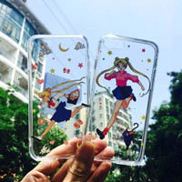 Sailor Moon Girl Transparent cover tpu soft case for iphone 6 6s 6 plus 6s plus coque shell running girls for iphone7 7plus