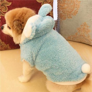 Fashion Pet Costume Cat Dog Clothes Coat Blue Orange Pink Red Puppy Bunny Hoodie Chihuahua Clothing In Winter Warm Apparel