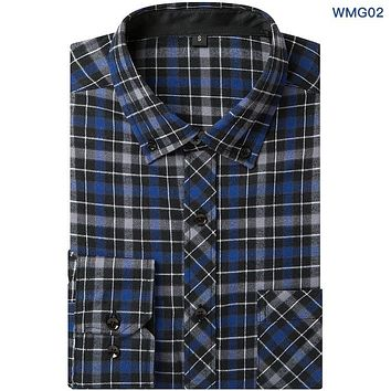 New Product Men Plaid Long-sleeved Casual Dress Shirt Flannel Summer Male Business Fashion