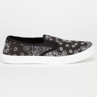Full Tilt Slip On Womens Shoes Black Paisley  In Sizes