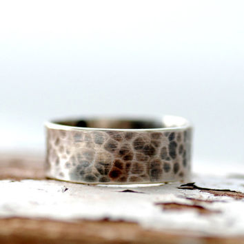 Sterling Silver Ring, Hammered Silver Band, Ring Band, Metalwork Ring, Unisex Ring, Everyday Jewelry, Made in Canada, MADE TO ORDER