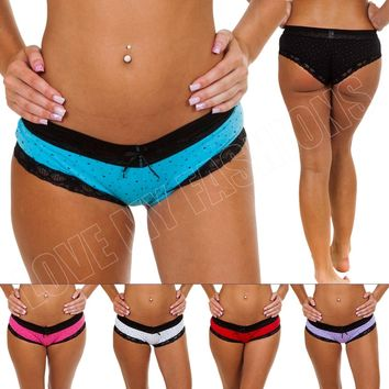New Womens Ladies Heart Print Lace Trim Underwear Panties Briefs Shorts Size M L