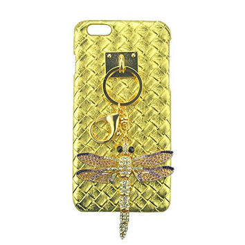 "S&C Luxury 3D Bling Rhinestone Beautiful Dragonfly Pendant with DIY Handmade Metal Buckle Pendant Elegant Tartan Plaid Weave Leather Hard Back Case Cover Phone Case for iPhone 6Plus 6S Plus (5.5"")"
