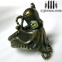 Octopus Ring Antiqued Dark Brass Gothic Green Peridot Eyes Size 8