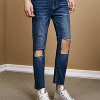 Unisex Destroyed Knee Denim Jeans