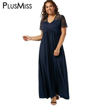 Plus Size 5XL Vintage Sexy V Neck Lace Crochet Formal Maxi Long Dress Women 2017 Short Sleeve Elegant Party Dresses Vestido