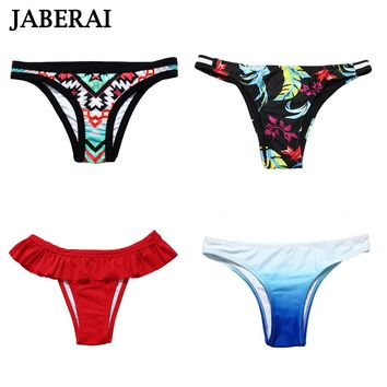 JABERAI Bikini Bottom 2017 Women Solid Brazilian Bikini Bottom Floral Print Swim Biquini Briefs Swimwear Panties Parte De Abajo
