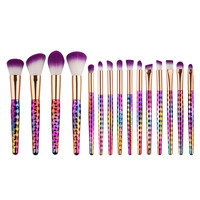 New 15pcs Purple Makeup Brushes Set Synthetic Hair Make Up Brush Tools Cosmetic Brush Professional Foundation Brush Kits