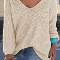 Retro Women's Solid Color V neck Loose Sweater