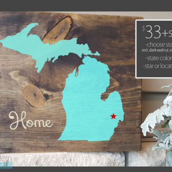 Home-Stained, Hand Painted, Michigan decor, Michigan art, Michigan sign