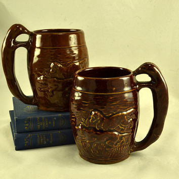 2 Rockingham Beer Mugs - Hunt Scene Dog Handle - Antique Stoneware - Brown Glazed Bennington Majolica Relief Mold