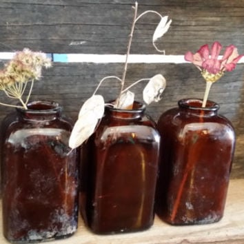 Set of 3 Vintage Amber Glass Snuff Bottles Flower Vases Reed Diffuser Decorative Decor Altered Art Supply