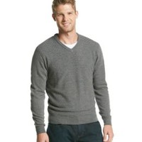 Product: John Bartlett Consensus Men's Basketweave Textured V-Neck Sweater