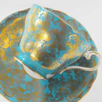 Turquoise and Gold Filigree Aynsley Tea Cup and Saucer Set, Signed, Tea Party,Wedding, English Bone China,869, Replacement China