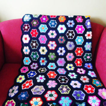Crochet Blanket, Afgan Blanket, Crochet Throw, Dark Blue Crochet Blanket, Granny Square Blanket in Dark Blue, Multicolour Afgan Blanket