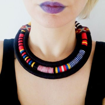 Multi Strand African necklace / fabric Statement necklace , African jewelry, fabric jewelry , Massai, Collier Africain