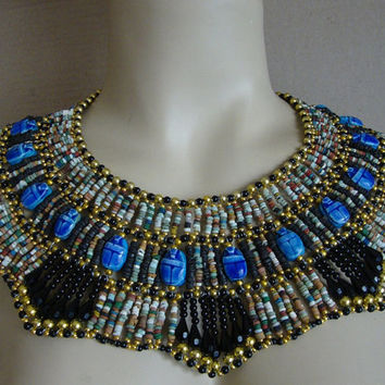 Egyptian mummy Beaded Cleopatra Collar with 16 scarabs