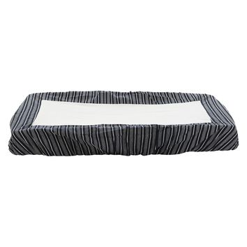 Navy blue striped change pad cover