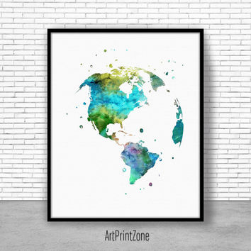 Globe USA Print color, Earth Print, Globe United States Map, World Print, Earth Painting, Watercolor World, World Map Poster
