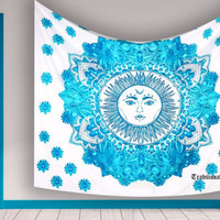 Bohemian Ombre Sun Mandala Zodiac Table Cloth Tapestry Wallhanging For Dorm Wall Decor