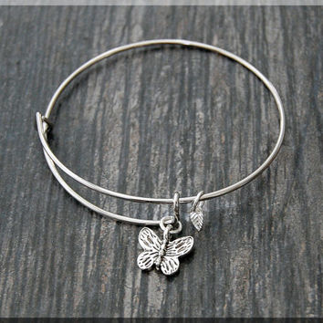 Silver Butterfly Charm Expandable Bangle Bracelet, Adjustable Bangle Bracelet, Stacking Charm Bracelet, Spring Bug Bangle, Butterfly Charm