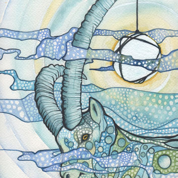 Ibex Goat 8.5 x 11 print of detailed watercolour artwork light whimsical blues and yellow green earth tones, illuminated and magical