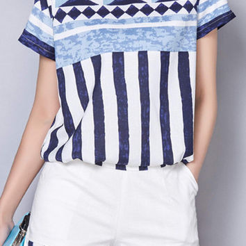 Short Sleeve Geometric Printed T-Shirt and Striped Shorts Twinset