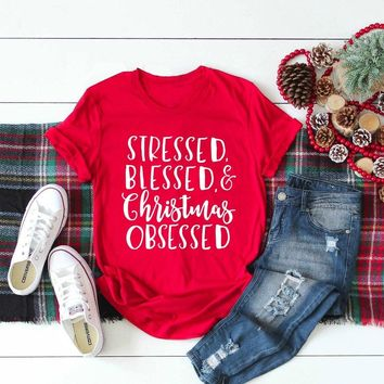 Stressed Blessed and Christmas Obsessed T-Shirt women fashion slogan Christian aesthetic camisetas tumblr shirt casual red tees