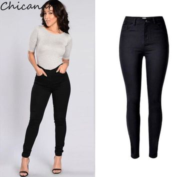 Chicanary Europe Women High Waist Stretchy Denim Jeans Black Solid Skinny Pencil Pants Plus Size New Casual Jeggings Leggings