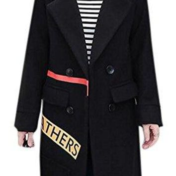 Women's Double-Breasted Stylish Thick Slim Wool Lapel Trench Pea Coat