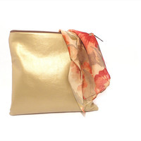 Gold Metallic Clutch Purse Soft Vegan Leather