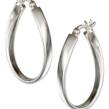 STERLING SILVER WAVY RIBBON OVAL HOOP EARRINGS