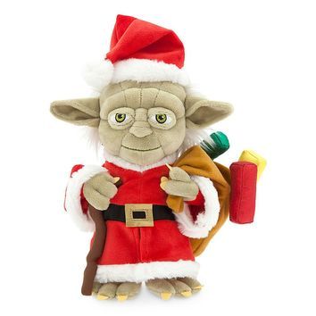 "Licensed cool Star Wars 2016 Christmas Holiday SANTA YODA 9"" Plush Toy Doll DISNEY Park Store"