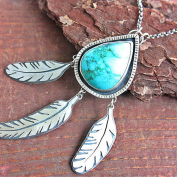 Turquoise Pendant Sterling Silver Feathers Necklace Dream Catcher Country Western Boho Silversmith Metalsmithed Gemstone