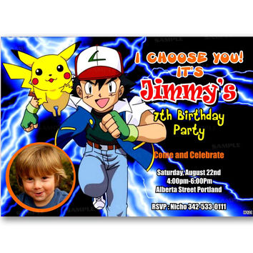 Pokemon Invitation Kids Birthday Invitation Party Design