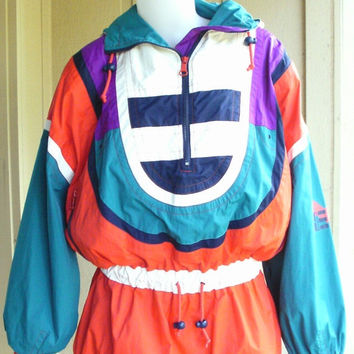 ON SALE 80s Vintage Ski Jacket Mutli Color Winter Coat Unisex Ski Wear