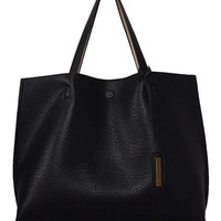 Reversible Tote Bag in Black/Beige
