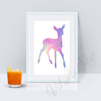 Roe Poster Art - Roe watercolor art, Home Decor, Nursery Art Decor, Roe Print Art, Animal Art, Deer Poster Art