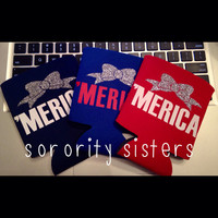 Merica Koozie with Silver Bow