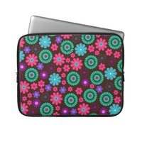 Colorful Psychedelic Funky Flower Pattern Computer Sleeve from Zazzle.com