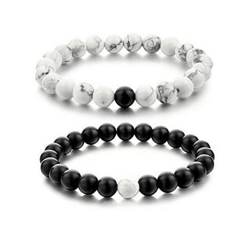 2Pcs New Fashion White and Black Natural Stones Couple Bracelets In Charm Beads Lovers Bracelets For Men and Women 8mm