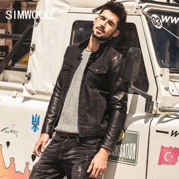 SIMWOOD New Autumn Winter  black denim jacket men  Spliced leather  jeans jacket  outwear