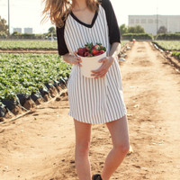 Iris Striped Baseball T-Shirt Dress