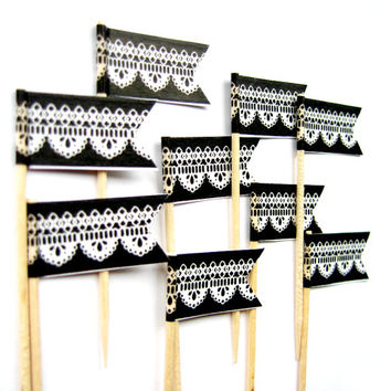 12 Black & White Lace Flag Cupcake Toppers - Washi Tape Cupcake Toppers, wedding, engagement, birthday, baby shower, tea party